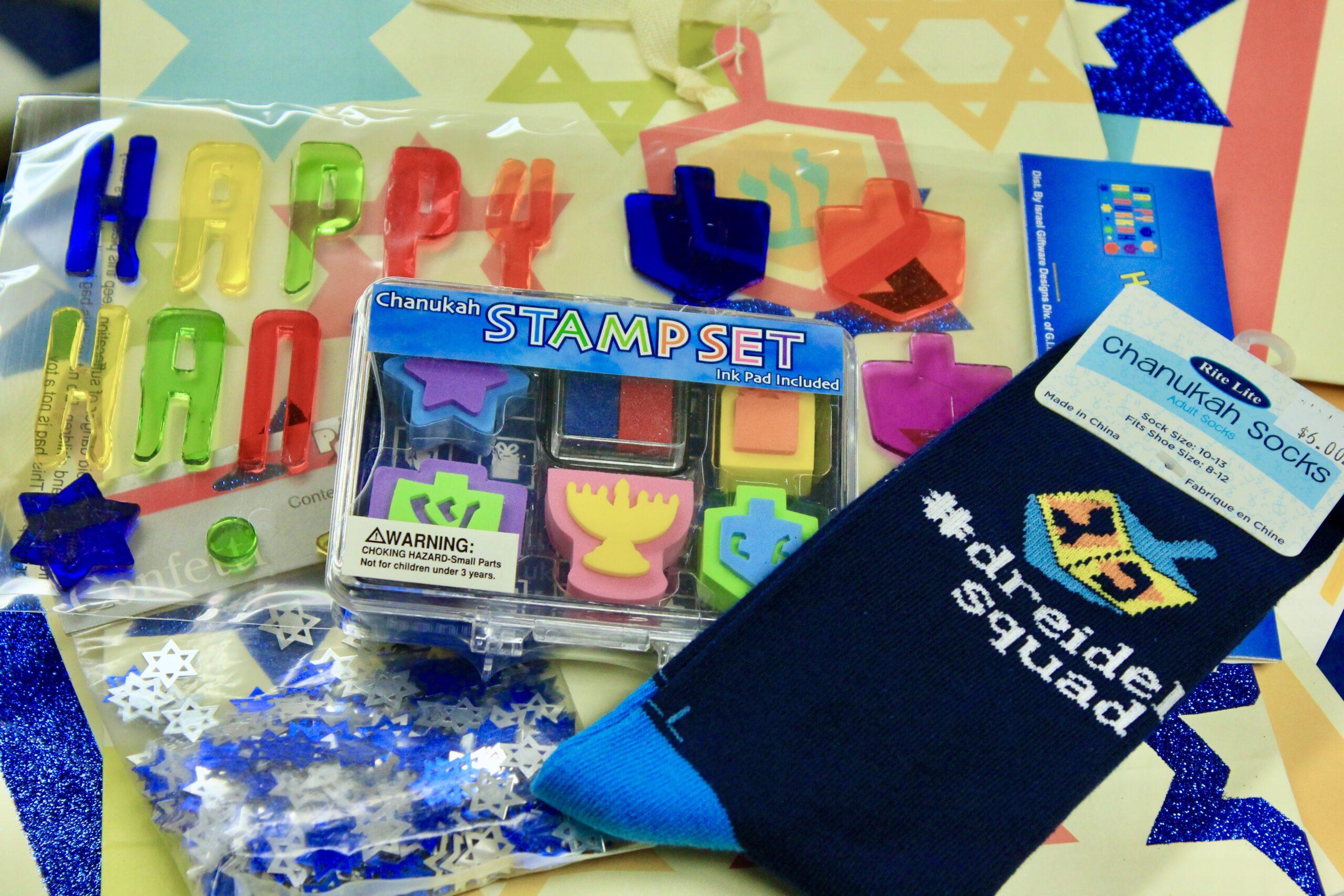Dreidel Squad Socks, Stamp Set, confetti pack, Gel Cling Decor $12 (3 available)